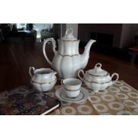 Serviciu de cafea 110 ml din portelan 17 piese - 6 persoane - BOLERO PRINCESS - Nr catalog 1642 (Set Servicii Portelan de cafea)