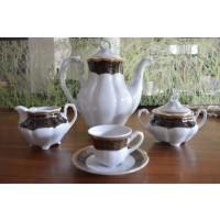 Serviciu de cafea 110 ml din portelan 17 piese - 6 persoane - BOLERO NOIR - Nr catalog 1524 (Set Servicii Portelan de cafea)