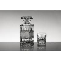 Set sticla si 6 pahare pentru whisky din cristal de Bohemia - Brittany - Nr catalog 599