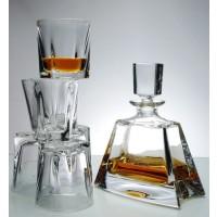 Set sticla si 6 pahare de whisky din cristal de Bohemia - Kathreen - Nr catalog 534