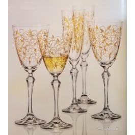 Pahare de vin rosu Bohemia Cristalit - Leaves Gold - Nr catalog 3079 (Pahare)