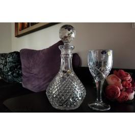 Set pahare de vin si sticla din cristal de Bohemia - Sheffield - Nr catalog 2676 (Pahare cu sticla)