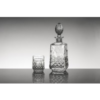 Crystal whisky glasses and bottle set - Misty Collection