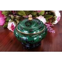 Caseta Cloisonne 13 cm - Verde - Nr catalog 2955 (Bomboniere si casete cu capac)