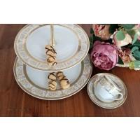Serviciu de cafea/ ceai si etajera din portelan - SHARIM GOLD - Nr catalog 2620 (Set Servicii Portelan de cafea)