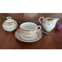 Serviciu cafea cu lapte, cu zaharnita si latiera - SHARIM GOLD - Nr catalog 2619 (Set Servicii Portelan de cafea)