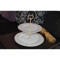 Etajera din portelan cu 2 platouri - Bolero Jasmine - Nr catalog 2332 (Set Servicii Portelan de masa)