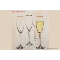Set 6 pahare sampanie Bohemia cristalit - Celebration - Nr catalog 3094 (Pahare)