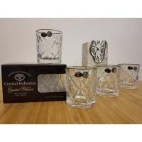 Set 4 pahare de whisky cristal Bohemia bordura platina - Rombus Platinum - Nr catalog 2913 (Pahare)