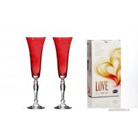 Set 2 pahare sampanie Bohemia cristalit - Love Red - Nr catalog 3174 (Pahare)