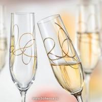 Set 2 pahare sampanie Bohemia Cristalit - String Gold - Nr catalog 3072 (Pahare)
