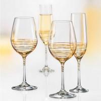 Set 6 pahare vin alb/rosu Bohemia Cristalit - Viola Gold - Nr catalog 3081 (Pahare)