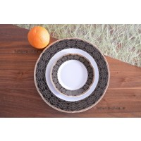 Porcelain cake set 7 piese - 6 persons - BOLERO NOIR - Catalog no 1195