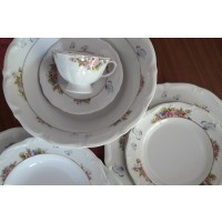 Serviciu de masa si cafea din portelan 32 piese - 6 persoane - Papillon - Nr catalog 1514 (Set Servicii Portelan de masa)