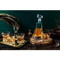 Set 6 pahare de whisky si 2 sticle Bohemia cristalit - Lovers - Nr catalog 2528 (Pahare cu sticla)