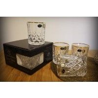 Set 4 pahare de whisky cristal Bohemia bordura aur - Brixton Gold - Nr catalog 2910 (Pahare)