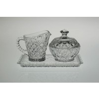 Set of crystal cream pot, sugar tray - Madison - Catalog No 282