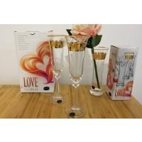 Crystallite champagne glasses and vase - Love Gold - Catalog no 3119