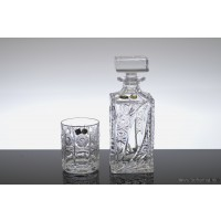 Crystal whisky glasses with bottle set - Thea - Catalog No1860