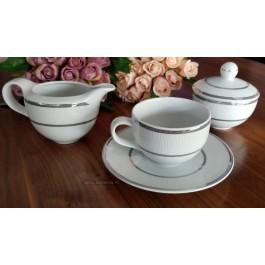 Serviciu ceai cu zaharnita si latiera - Platino - Nr catalog 3260 (Set Servicii Portelan de cafea)