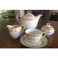 Serviciu de cafea 220 ml din portelan 17 piese - 6 persoane - SHARIM GOLD - Nr catalog 1506 (Set Servicii Portelan de cafea)