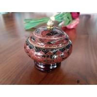 Caseta Cloisonne mica 8 cm - Maro - Nr catalog 2954 (Bomboniere si casete cu capac)