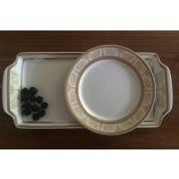 Serviciu de prajituri din portelan 7 piese - 6 persoane - SHARIM GOLD - Nr catalog 1497 (Set Servicii Portelan pentru tort)
