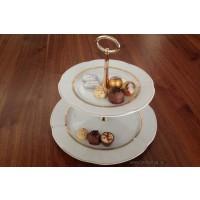 Etajera din portelan cu 2 platouri - Bolero Princess - Nr catalog 1636 (Set Servicii Portelan pentru tort)