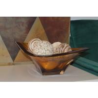 Fructiera 38 cm Bohemia cristalit - Dynasty Caramel - Nr catalog 3189 (Fructiere - Boluri - Platouri)
