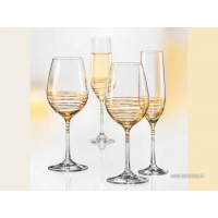 Set 2 pahare vin alb/rosu Bohemia Cristalit - Spiral Gold - Nr catalog 3082