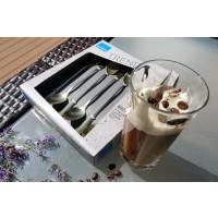 Pahare caffe frappe cristal Bohemia Victoria cu lingurite aurii - Nr catalog 3148 (Pahare)