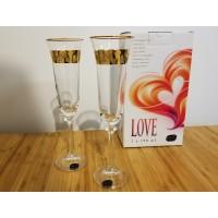 Set 2 pahare sampanie Bohemia cristalit - Love Gold - Nr catalog 3090 (Pahare)