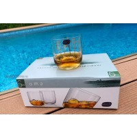Set 6 pahare whisky Bohemia cristalin -Uma Gold Geometric