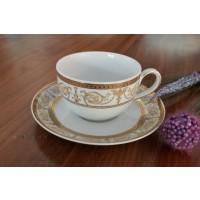 Serviciu de cafea 220 ml din portelan 12 piese - 6 persoane - SHARIM GOLD - Nr catalog 1488 (Set Servicii Portelan de cafea)