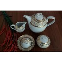 Serviciu cafea espresso 6 persoane complet- Sharm Gold - Nr catalog 2570 (Set Servicii Portelan de cafea)