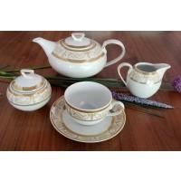 Serviciu din portelan de ceai cu ceainic - SHARIM GOLD - Nr catalog 1633 (Set Servicii Portelan de cafea)