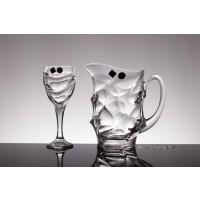 Set pahare vin si carafa din cristal de Bohemia - Calypso - Nr catalog 1951 (Pahare cu sticla)