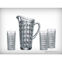 Set limonada Bohemia cristalit - Diamond - Nr catalog 1408 (Pahare cu sticla)