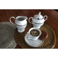 Serviciu de cafea espresso cu latiera si zaharnita - Gloria - Nr catalog 2837 (Set Servicii Portelan de cafea)