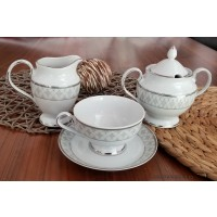Serviciu cafea sau ceai cu zaharnita si latiera - Marie - Nr catalog 2524 (Set Servicii Portelan de cafea)
