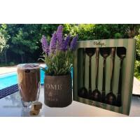 Pahare caffe frappe cristal Bohemia Sheffield si lingurite lungi - Nr catalog 3137 (Pahare)