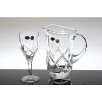 Set pahare de vin si carafa din cristal Bohemia - Sheffield 3 - Nr catalog 1877