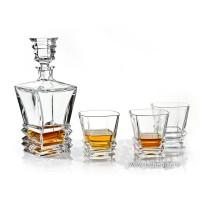 Set sticla si 6 pahare pentru whisky  din cristal  de Bohemia - Rocky - Nr catalog 1099