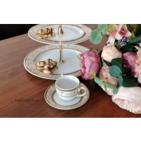 Serviciu de cafea espresso 100 ml si etajera - Sharim Gold - Nr catalog 2621 (Set Servicii Portelan de cafea)