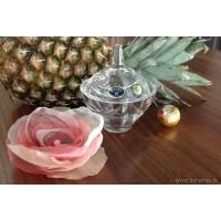 Caseta 12.5 cm din cristal de Bohemia si floare din organza - Nr catalog 2905