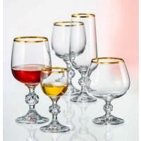 Set de 24 pahare Bohemia cristalit - Claudia Gold - Nr catalog 3049