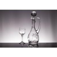 Set sticla si 6 pahare pentru vin din cristal de Bohemia - Imperial 2 - Nr. catalog 800