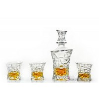 Set sticla si 6 pahare de whisky din cristal de Bohemia - Princess - Nr catalog 1119