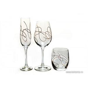 Set 6 pahare diferite Bohemia cristalit - String Gold - Nr catalog 3116