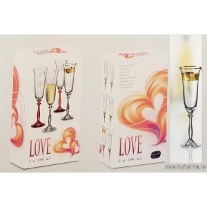 Set 6 pahare sampanie Bohemia cristalit - Love Gold - Nr catalog 3093